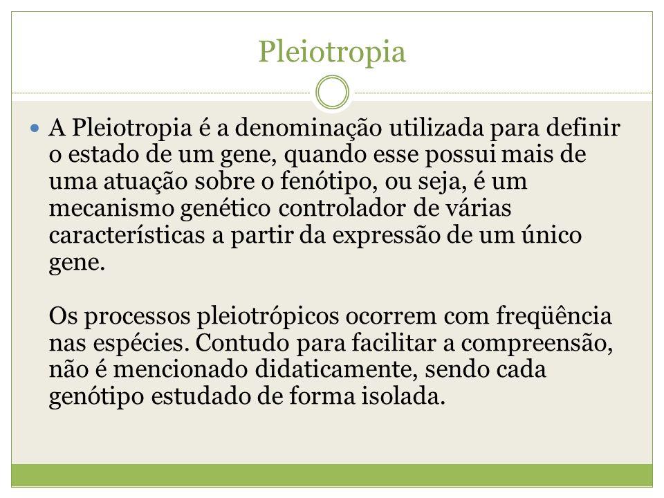 Pleiotropia A Pleiotropia é a denominação utilizada para definir o estado de um gene, quando esse possui mais de uma atuação sobre o fenótipo, ou seja