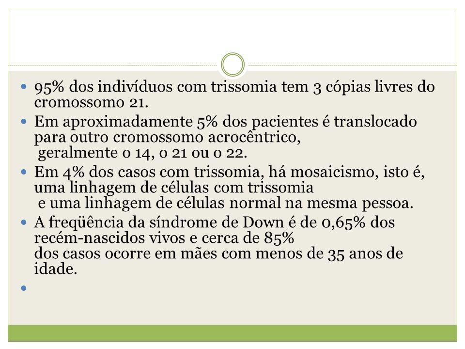 95% dos indivíduos com trissomia tem 3 cópias livres do cromossomo 21. Em aproximadamente 5% dos pacientes é translocado para outro cromossomo acrocên