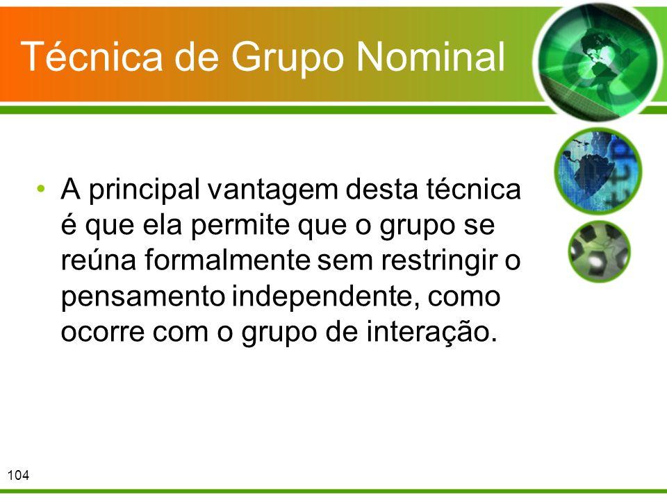 Técnica de Grupo Nominal A principal vantagem desta técnica é que ela permite que o grupo se reúna formalmente sem restringir o pensamento independent