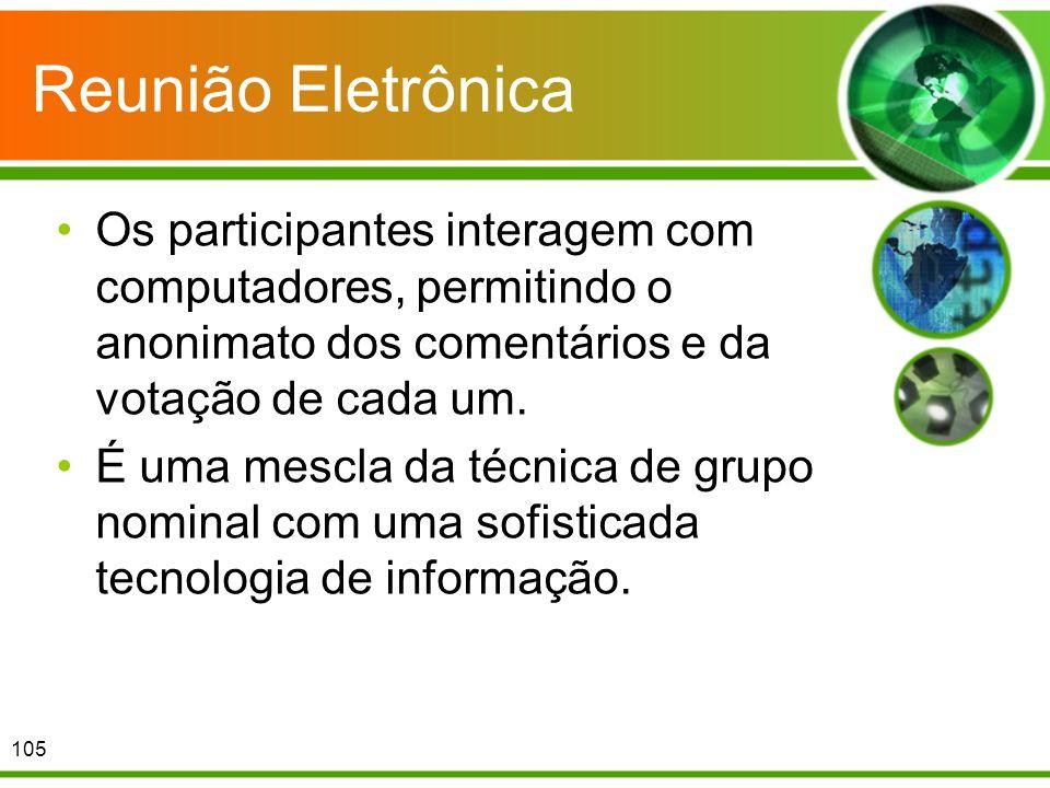 Reunião Eletrônica Os participantes interagem com computadores, permitindo o anonimato dos comentários e da votação de cada um. É uma mescla da técnic