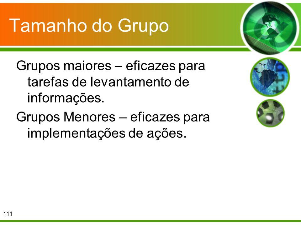 Tamanho do Grupo Grupos maiores – eficazes para tarefas de levantamento de informações. Grupos Menores – eficazes para implementações de ações. 111