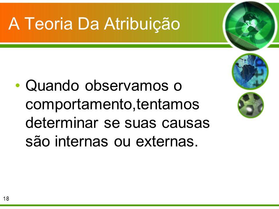 A Teoria Da Atribuição Quando observamos o comportamento,tentamos determinar se suas causas são internas ou externas. 18