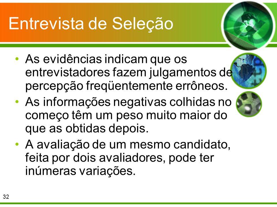 Entrevista de Seleção As evidências indicam que os entrevistadores fazem julgamentos de percepção freqüentemente errôneos. As informações negativas co