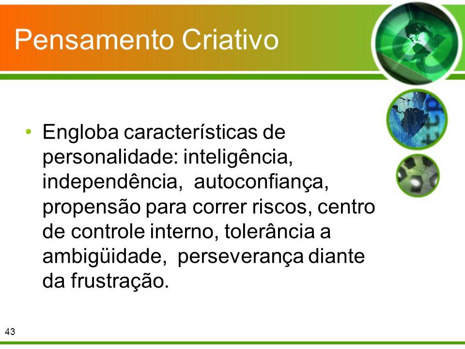 Pensamento Criativo Engloba características de personalidade: inteligência, independência, autoconfiança, propensão para correr riscos, centro de cont