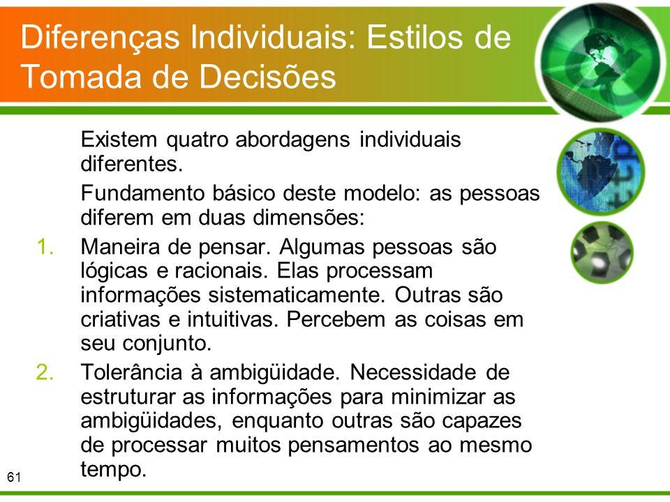 Diferenças Individuais: Estilos de Tomada de Decisões Existem quatro abordagens individuais diferentes. Fundamento básico deste modelo: as pessoas dif