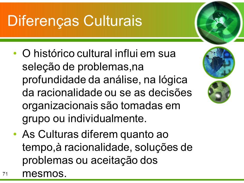 Diferenças Culturais O histórico cultural influi em sua seleção de problemas,na profundidade da análise, na lógica da racionalidade ou se as decisões