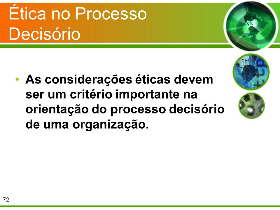 Ética no Processo Decisório As considerações éticas devem ser um critério importante na orientação do processo decisório de uma organização. 72