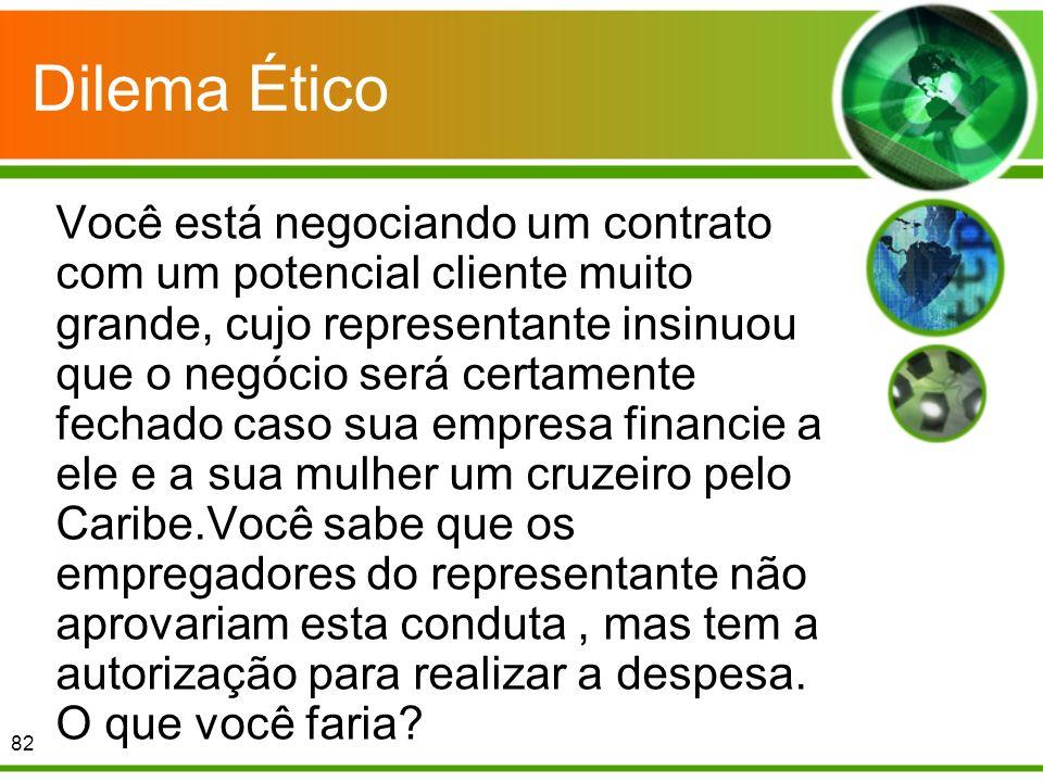 Dilema Ético Você está negociando um contrato com um potencial cliente muito grande, cujo representante insinuou que o negócio será certamente fechado