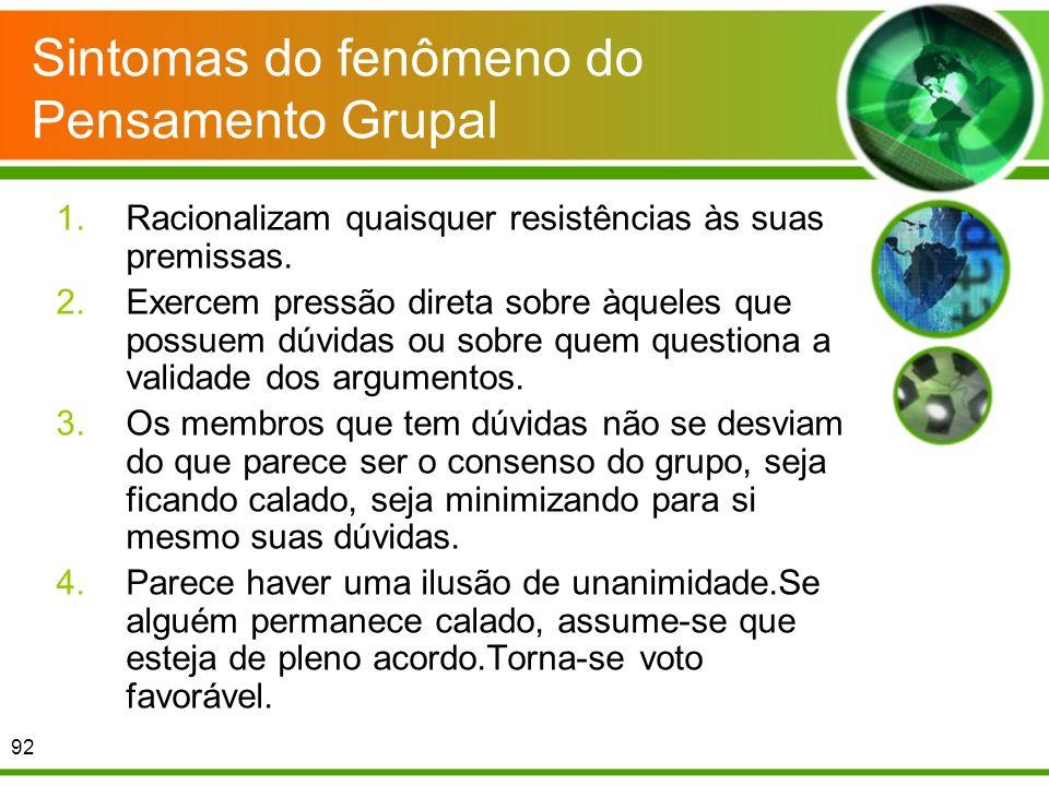 Sintomas do fenômeno do Pensamento Grupal 1.Racionalizam quaisquer resistências às suas premissas. 2.Exercem pressão direta sobre àqueles que possuem
