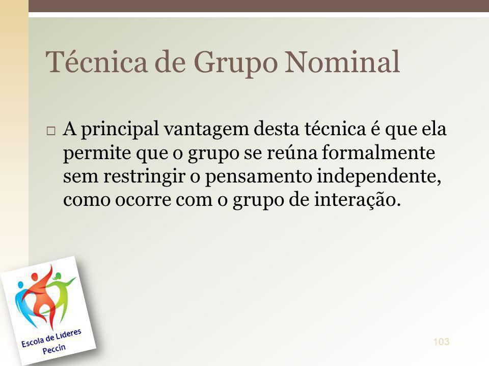 A principal vantagem desta técnica é que ela permite que o grupo se reúna formalmente sem restringir o pensamento independente, como ocorre com o grup