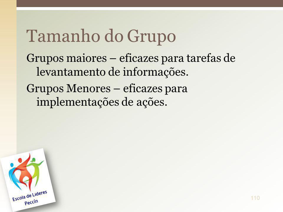 Grupos maiores – eficazes para tarefas de levantamento de informações. Grupos Menores – eficazes para implementações de ações. Tamanho do Grupo 110