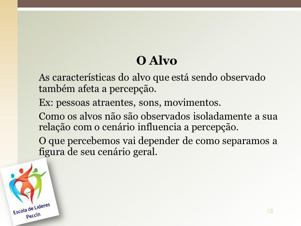 O Alvo As características do alvo que está sendo observado também afeta a percepção. Ex: pessoas atraentes, sons, movimentos. Como os alvos não são ob
