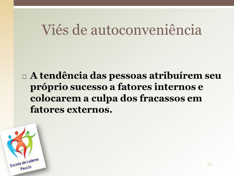 A tendência das pessoas atribuírem seu próprio sucesso a fatores internos e colocarem a culpa dos fracassos em fatores externos. Viés de autoconveniên