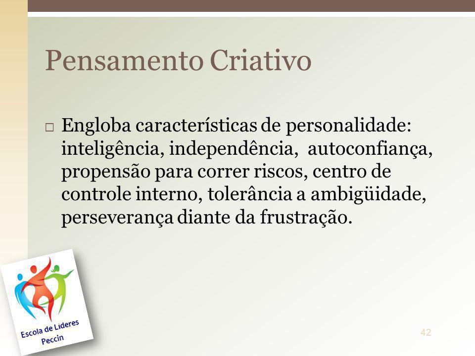 Engloba características de personalidade: inteligência, independência, autoconfiança, propensão para correr riscos, centro de controle interno, tolerâ