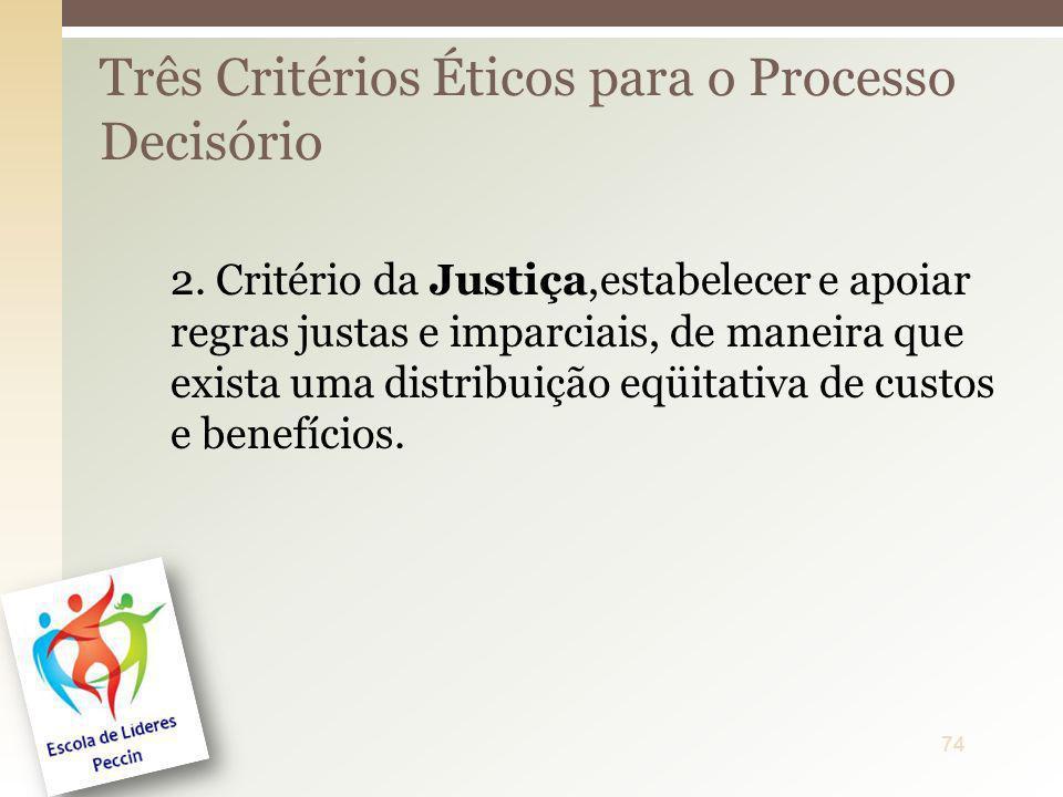 2. Critério da Justiça,estabelecer e apoiar regras justas e imparciais, de maneira que exista uma distribuição eqüitativa de custos e benefícios. Três