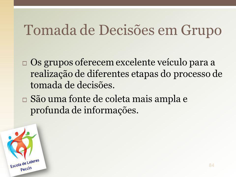 Os grupos oferecem excelente veículo para a realização de diferentes etapas do processo de tomada de decisões. São uma fonte de coleta mais ampla e pr