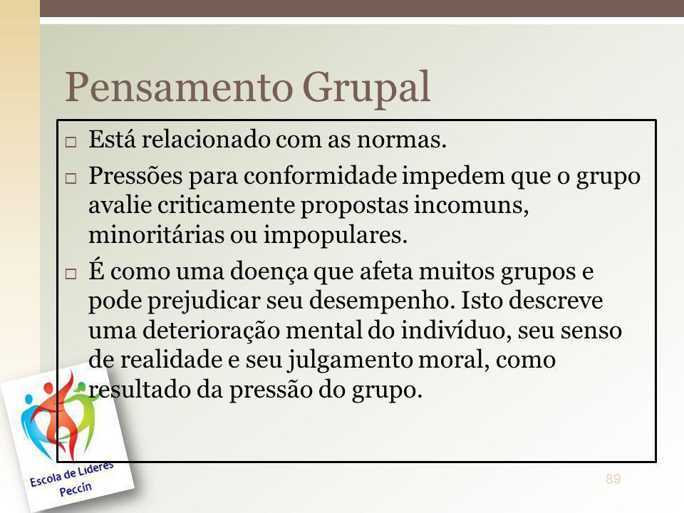 Está relacionado com as normas. Pressões para conformidade impedem que o grupo avalie criticamente propostas incomuns, minoritárias ou impopulares. É