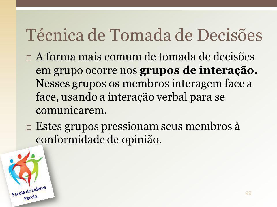 A forma mais comum de tomada de decisões em grupo ocorre nos grupos de interação. Nesses grupos os membros interagem face a face, usando a interação v