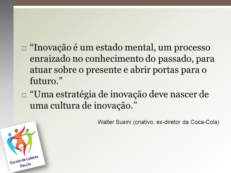 Inovação é um estado mental, um processo enraizado no conhecimento do passado, para atuar sobre o presente e abrir portas para o futuro. Uma estratégi