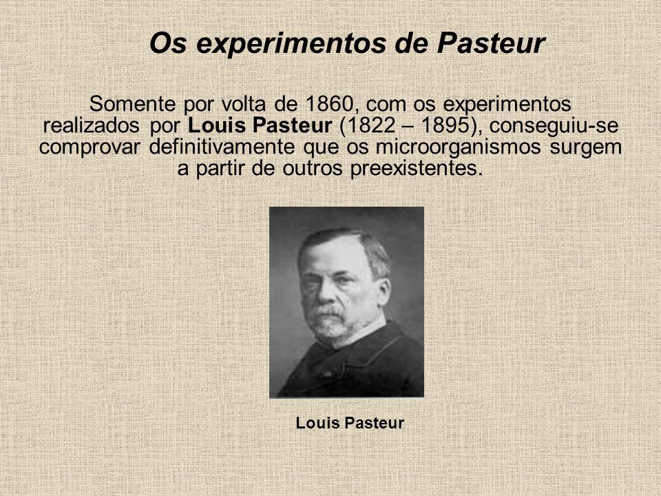 Os experimentos de Pasteur Somente por volta de 1860, com os experimentos realizados por Louis Pasteur (1822 – 1895), conseguiu-se comprovar definitiv