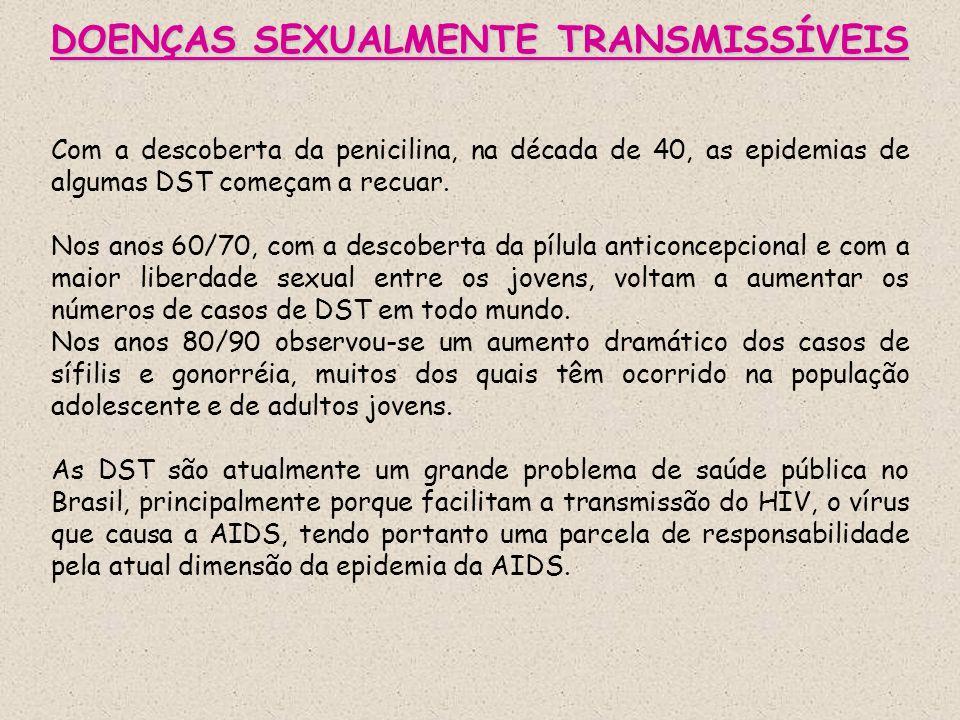 DOENÇAS SEXUALMENTE TRANSMISSÍVEIS Com a descoberta da penicilina, na década de 40, as epidemias de algumas DST começam a recuar. Nos anos 60/70, com