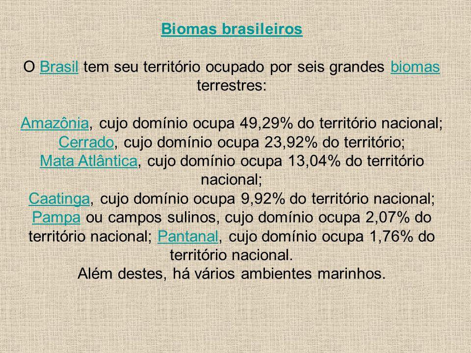 Biomas brasileiros O Brasil tem seu território ocupado por seis grandes biomas terrestres:Brasilbiomas AmazôniaAmazônia, cujo domínio ocupa 49,29% do