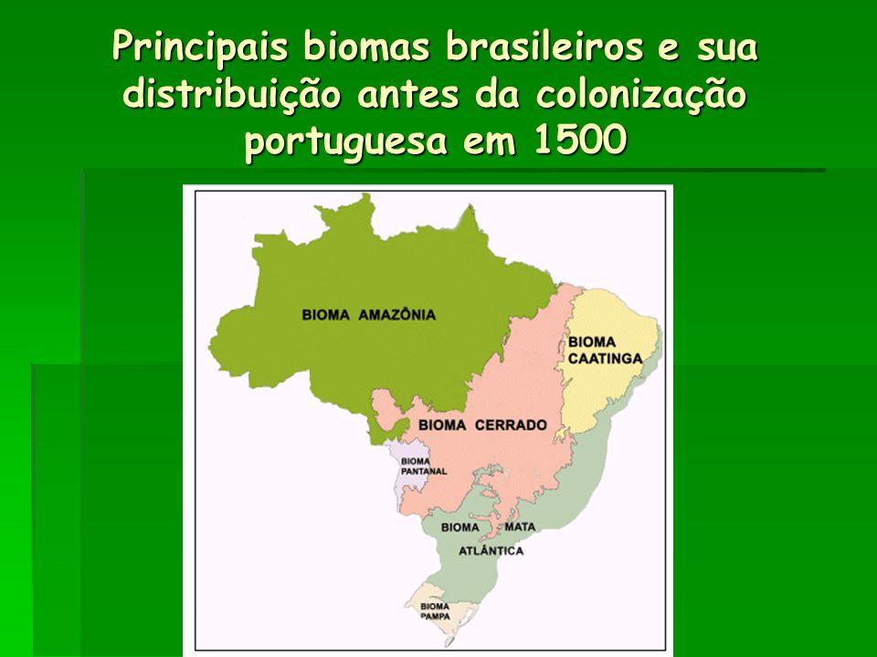 Principais biomas brasileiros e sua distribuição antes da colonização portuguesa em 1500