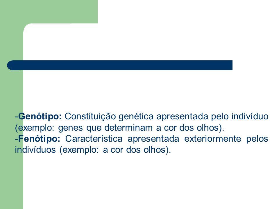 -Genótipo: Constituição genética apresentada pelo indivíduo (exemplo: genes que determinam a cor dos olhos). -Fenótipo: Característica apresentada ext
