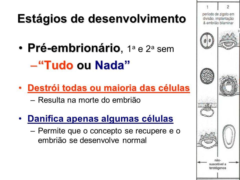 Estágios de desenvolvimento Pré-embrionárioPré-embrionário, 1 a e 2 a sem –Tudo ou Nada Destrói todas ou maioria das célulasDestrói todas ou maioria d