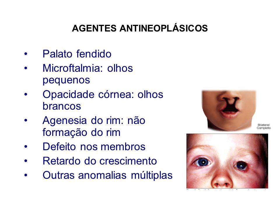 AGENTES ANTINEOPLÁSICOS Palato fendido Microftalmia: olhos pequenos Opacidade córnea: olhos brancos Agenesia do rim: não formação do rim Defeito nos m