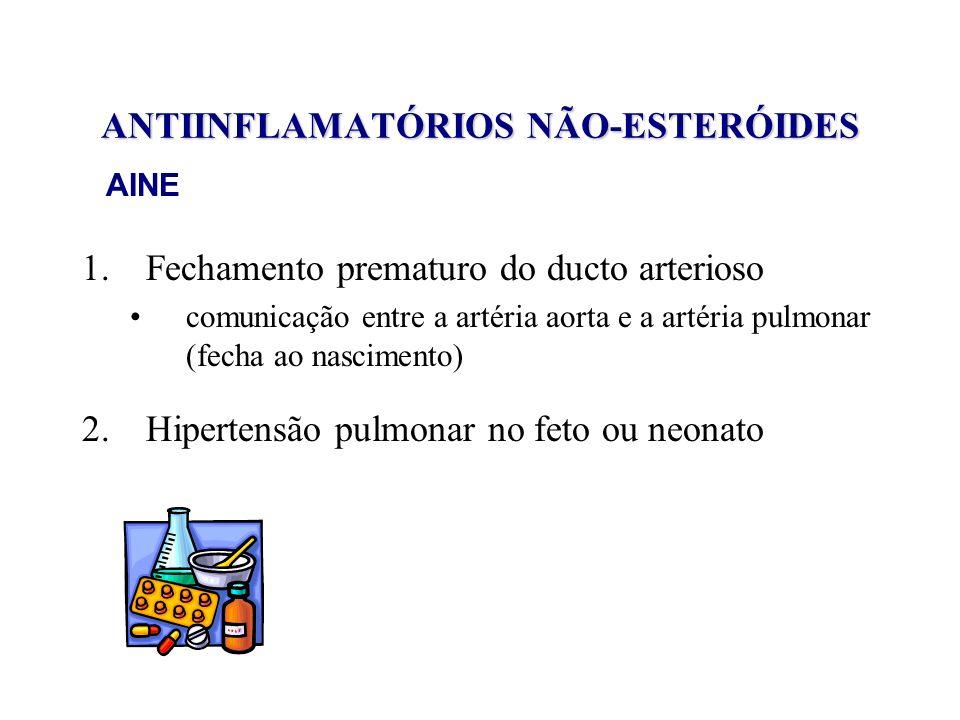 ANTIINFLAMATÓRIOS NÃO-ESTERÓIDES 1.Fechamento prematuro do ducto arterioso comunicação entre a artéria aorta e a artéria pulmonar (fecha ao nascimento
