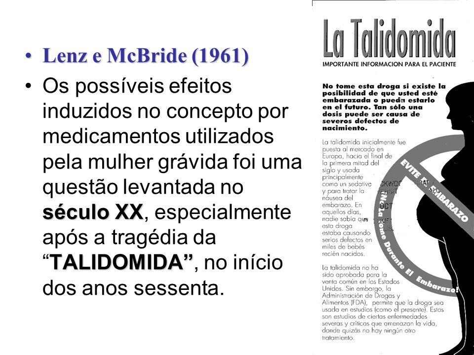 Lenz e McBride (1961)Lenz e McBride (1961) século XX TALIDOMIDAOs possíveis efeitos induzidos no concepto por medicamentos utilizados pela mulher gráv