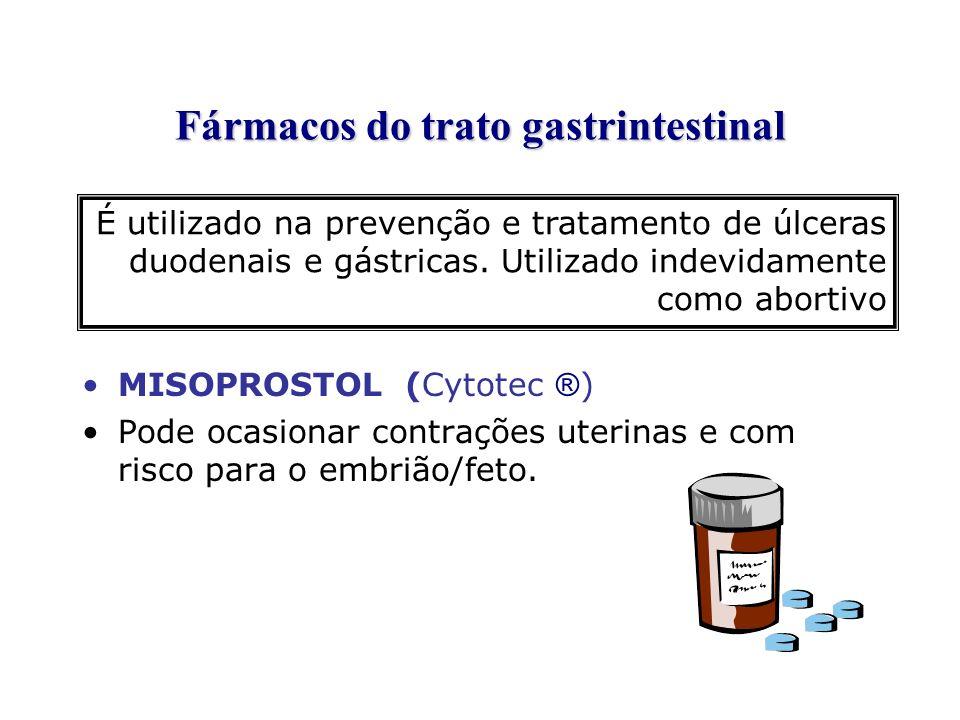 Fármacos do trato gastrintestinal MISOPROSTOL (Cytotec ® ) Pode ocasionar contrações uterinas e com risco para o embrião/feto. É utilizado na prevençã