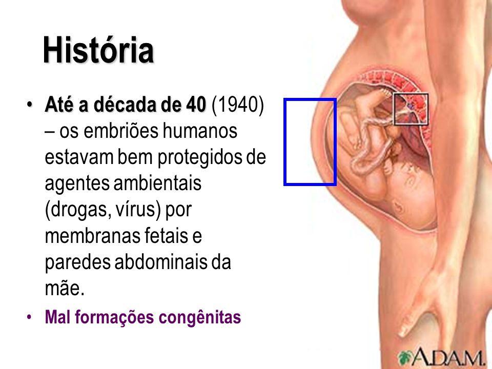 História Até a década de 40 Até a década de 40 (1940) – os embriões humanos estavam bem protegidos de agentes ambientais (drogas, vírus) por membranas