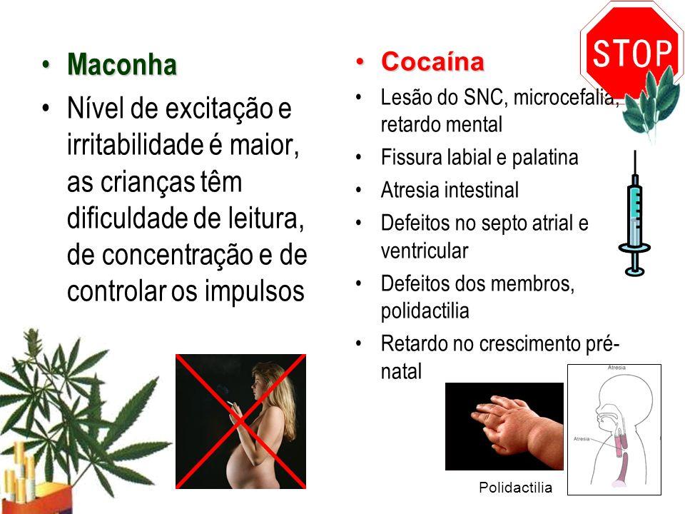 Maconha Maconha Nível de excitação e irritabilidade é maior, as crianças têm dificuldade de leitura, de concentração e de controlar os impulsos Cocaín