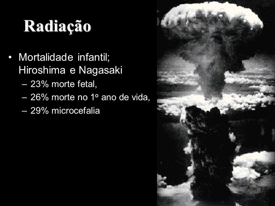 Radiação Mortalidade infantil; Hiroshima e Nagasaki –23% morte fetal, –26% morte no 1 o ano de vida, –29% microcefalia