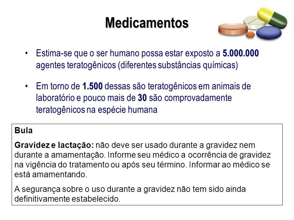 Drogas teratogênicas de uso não médico Cafeína Nada comprovado Tabaco Além de malformações fetais, aumentam a incidência de abortamento, inserção baixa de placenta e descolamento prematuro de placenta.