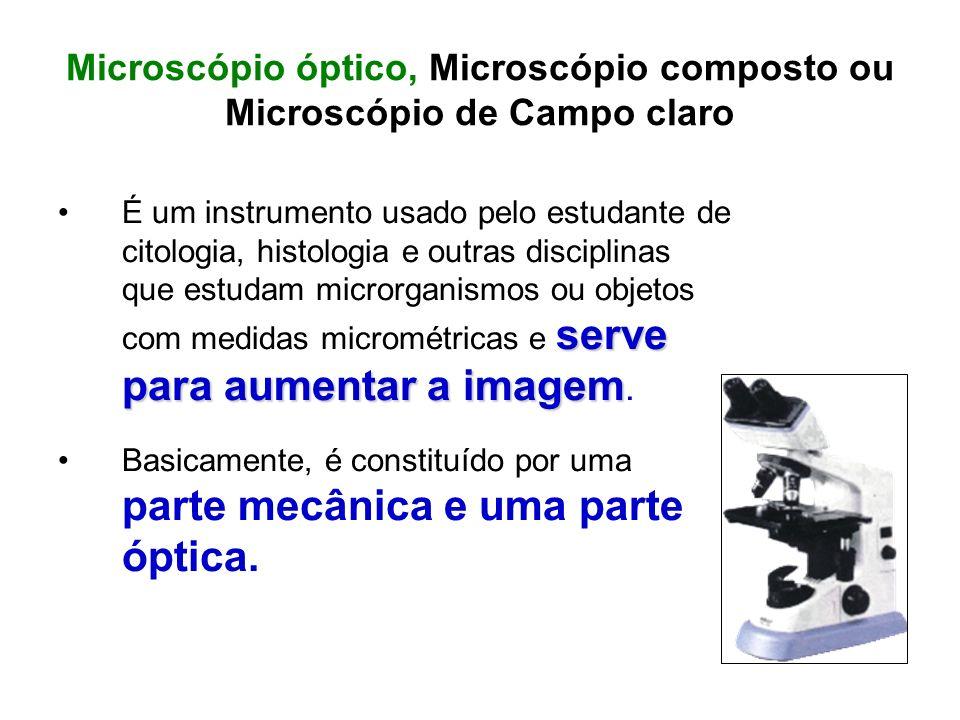 Microscópio óptico, Microscópio composto ou Microscópio de Campo claro serve para aumentar a imagemÉ um instrumento usado pelo estudante de citologia,