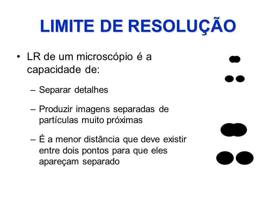 LIMITE DE RESOLUÇÃO LR de um microscópio é a capacidade de: –Separar detalhes –Produzir imagens separadas de partículas muito próximas –É a menor dist