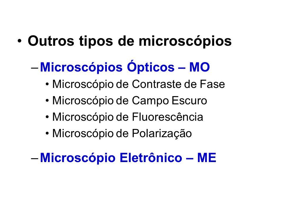 Outros tipos de microscópios –Microscópios Ópticos – MO Microscópio de Contraste de Fase Microscópio de Campo Escuro Microscópio de Fluorescência Micr