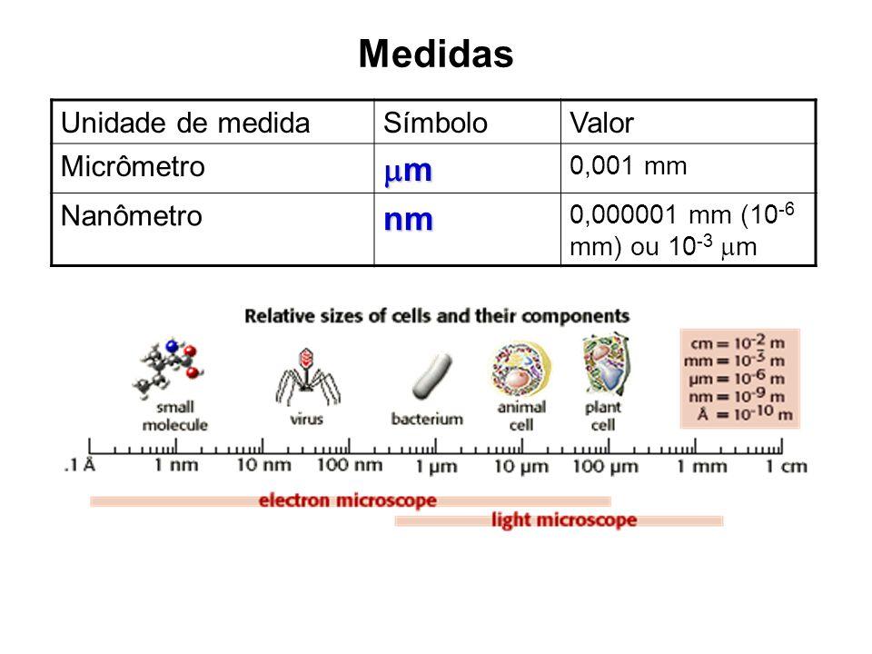 Medidas Unidade de medidaSímboloValor Micrômetro m 0,001 mm Nanômetronm 0,000001 mm (10 -6 mm) ou 10 -3 m