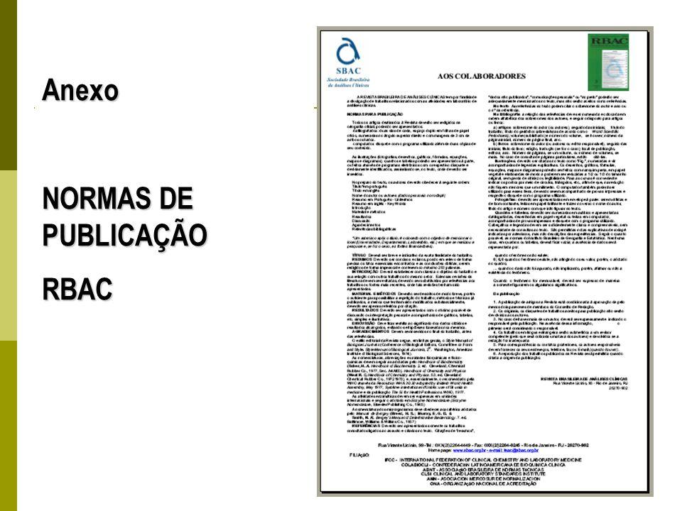 Anexo NORMAS DE PUBLICAÇÃO RBAC