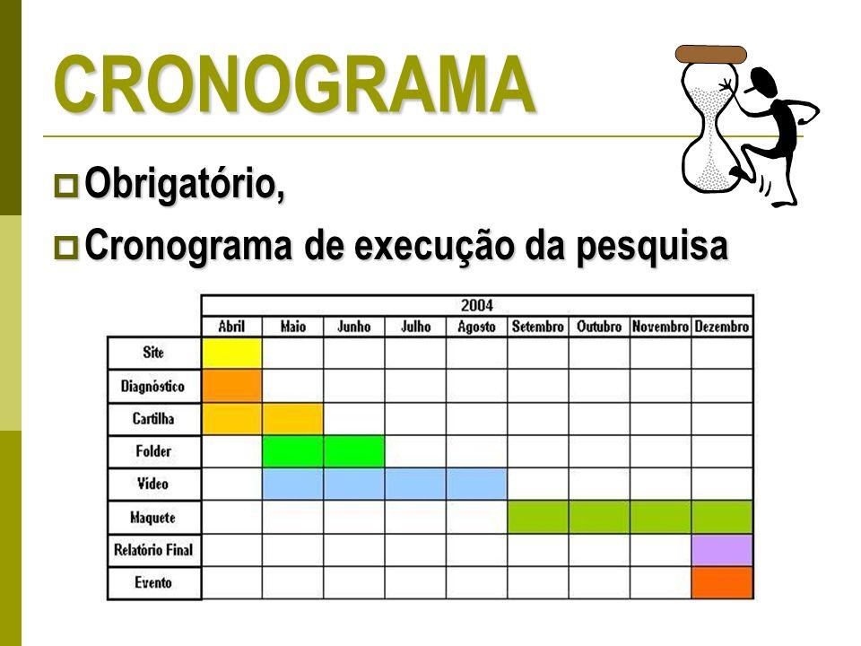 CRONOGRAMA Obrigatório, Obrigatório, Cronograma de execução da pesquisa Cronograma de execução da pesquisa