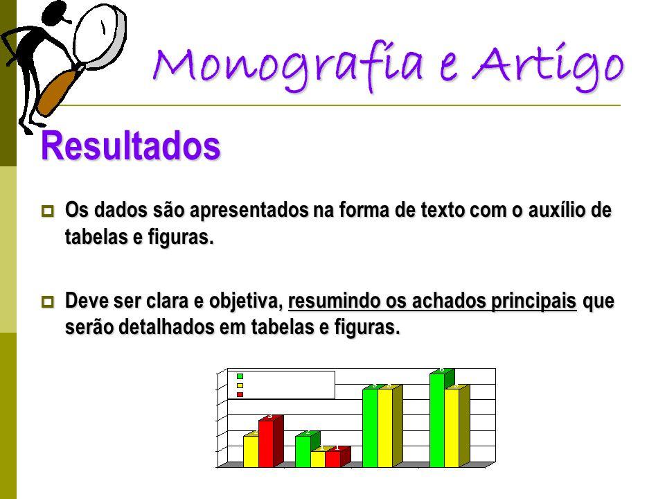Monografia e Artigo Resultados Os dados são apresentados na forma de texto com o auxílio de tabelas e figuras. Os dados são apresentados na forma de t