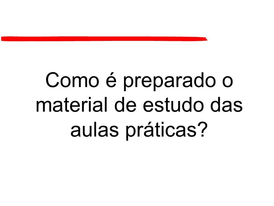 Como é preparado o material de estudo das aulas práticas?