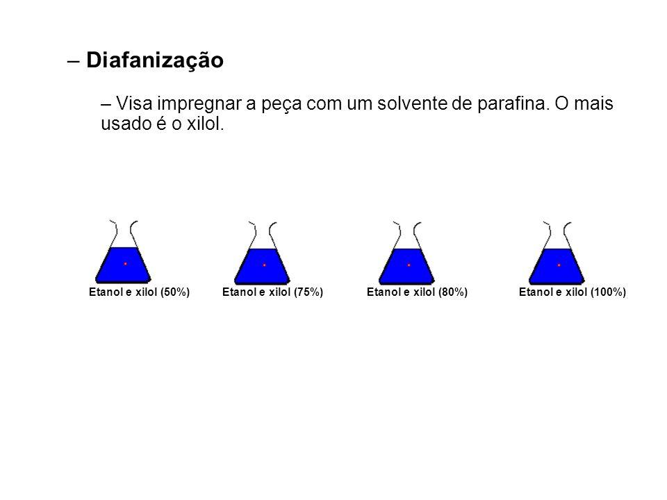Etanol e xilol (75%)Etanol e xilol (100%)Etanol e xilol (80%)Etanol e xilol (50%) – Diafanização – Visa impregnar a peça com um solvente de parafina.