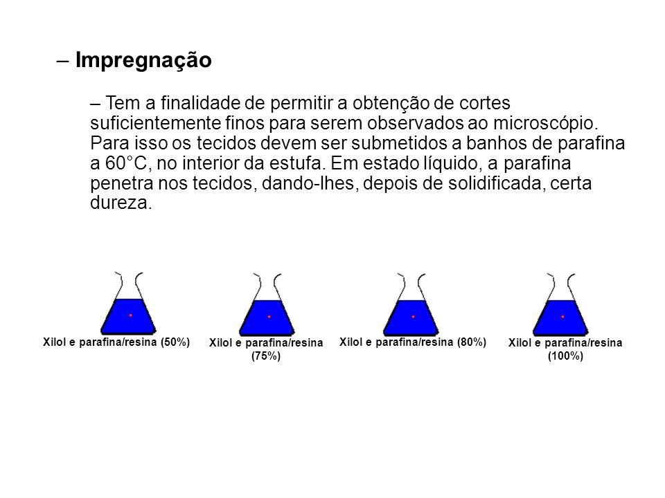 Xilol e parafina/resina (75%) Xilol e parafina/resina (100%) Xilol e parafina/resina (80%)Xilol e parafina/resina (50%) – Impregnação – Tem a finalida