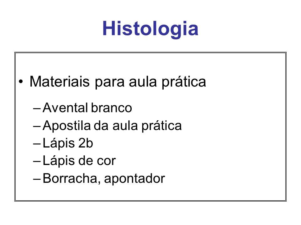 Histologia Materiais para aula prática –Avental branco –Apostila da aula prática –Lápis 2b –Lápis de cor –Borracha, apontador