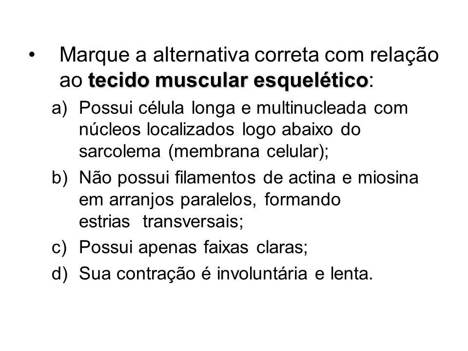 tecido muscular esqueléticoMarque a alternativa correta com relação ao tecido muscular esquelético: a)Possui célula longa e multinucleada com núcleos
