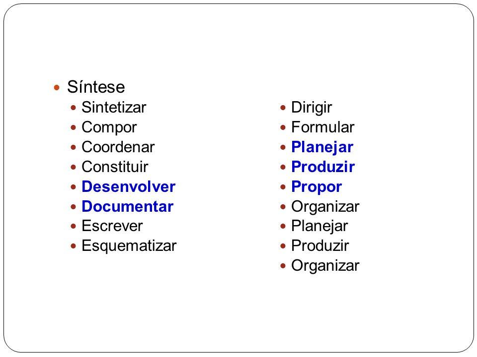 Síntese Sintetizar Compor Coordenar Constituir Desenvolver Documentar Escrever Esquematizar Dirigir Formular Planejar Produzir Propor Organizar Planejar Produzir Organizar